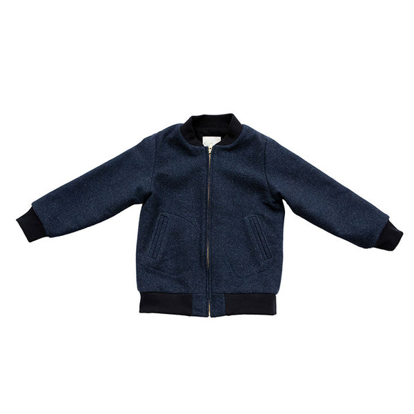 AVIATOR ZIP - BOILED WOOL - NAVY
