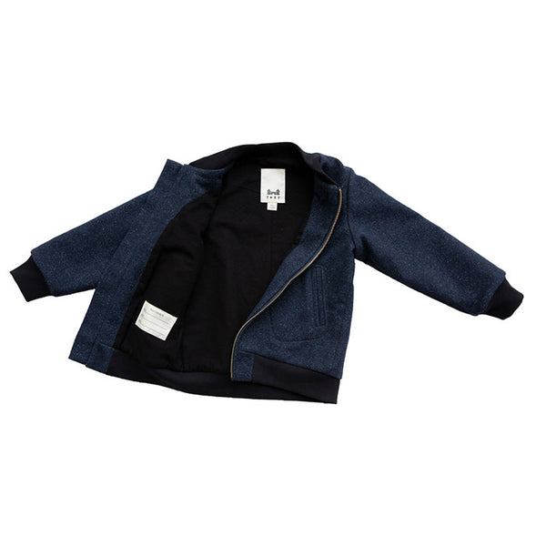 AVIATOR ZIP IN NAVY BOILED WOOL