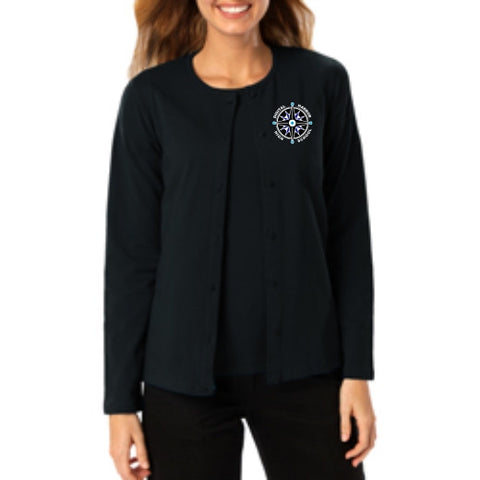 DHHS Ladies Long Sleeve Button Down Cardigan
