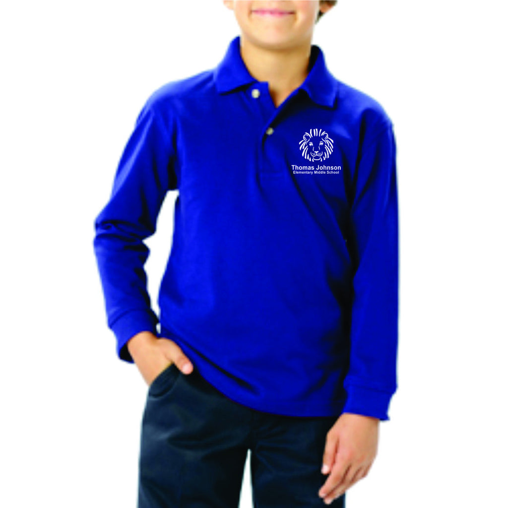 TJES Youth Long Sleeve Polo (EMBROIDERED)