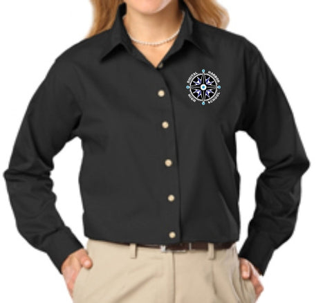 DHHS Ladies Long Sleeve Poplin Button Down Shirt