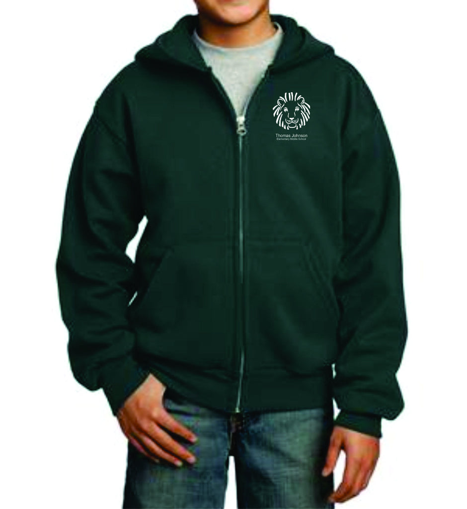 TJMS Youth Full Zip Hooded Sweatshirt (EMBROIDERED)