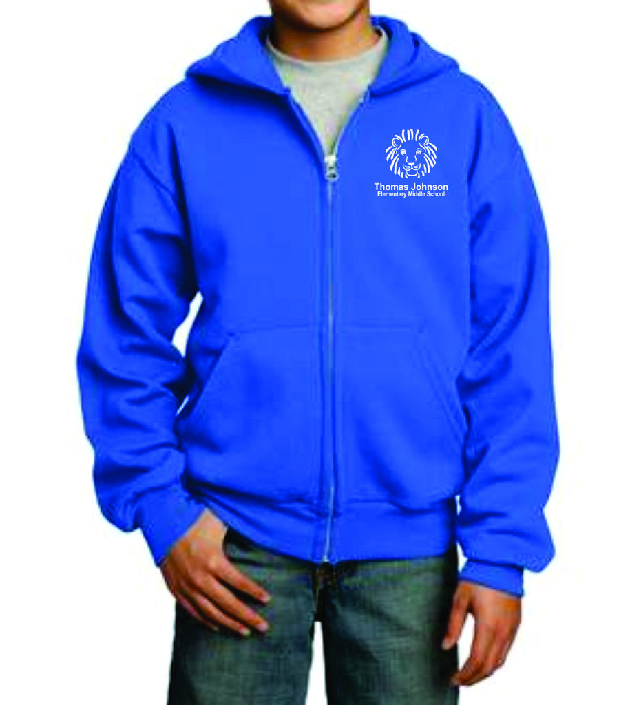 TJES Youth Full Zip Hooded Sweatshirt (EMBROIDERED)