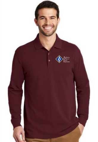 ACCE Men's Long Sleeve Polo (Screen Printed)
