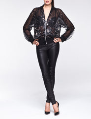 Crystal Bomber jacket beaded-lace Contessala