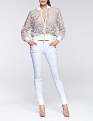 Crystal Bomber Jacket beaded-lace nude Contessala