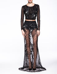 Crystal Rock set Black beaded-lace skirt top Contessala