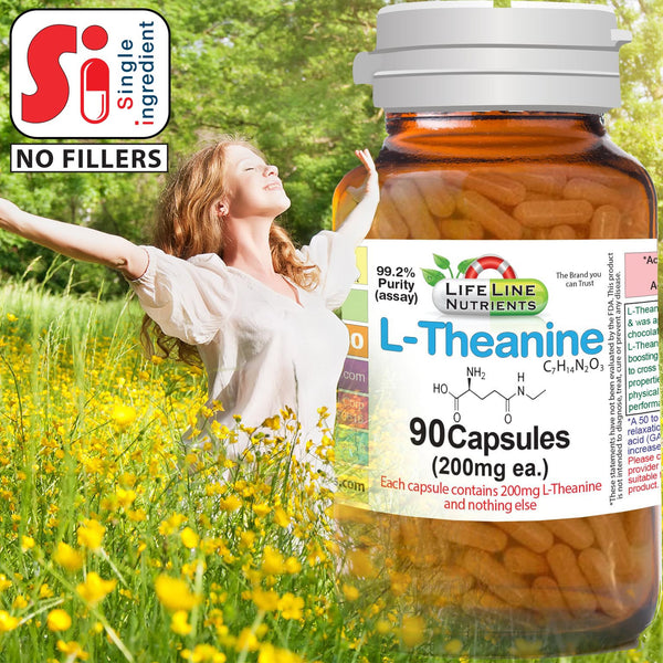 90 Caps L-Theanine, 200mg Capsule - Free Shipping