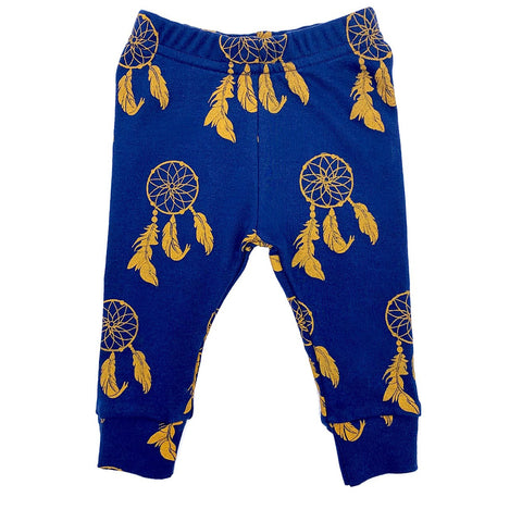 Navy Blue Dreamcatcher Print | Organic Cotton Leggings