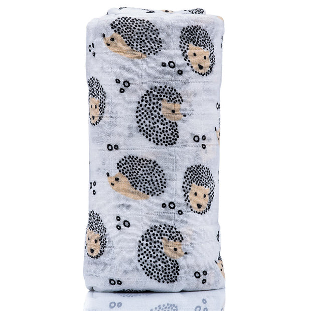 Hedgehog Print | Organic Cotton Muslin Swaddle Blanket
