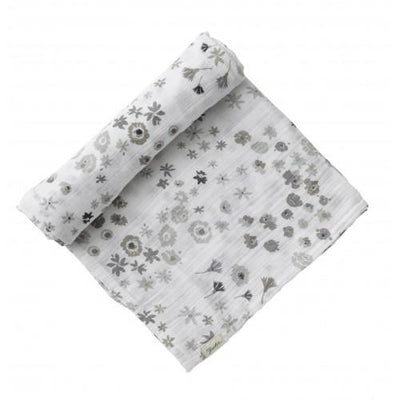 Monochrome Meadow Print | Muslin Swaddle Blanket - Buffalo & Bear