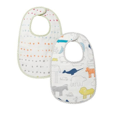Noah's Ark Animal Print and Painted Dots Reverse | Baby Bib - Buffalo & Bear
