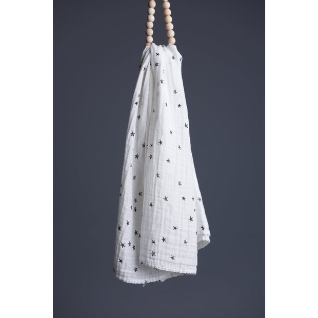 Stars Print | Organic Cotton Muslin Swaddle Blanket - Buffalo & Bear