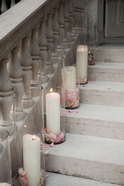 Pillar Candles and Rose Petals