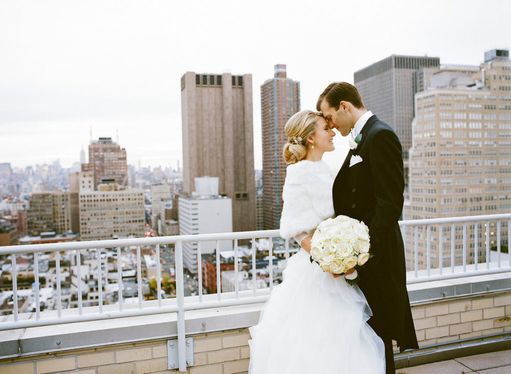 Romantic NYC wedding florist rooftop wedding by Anissa Rae Flowers