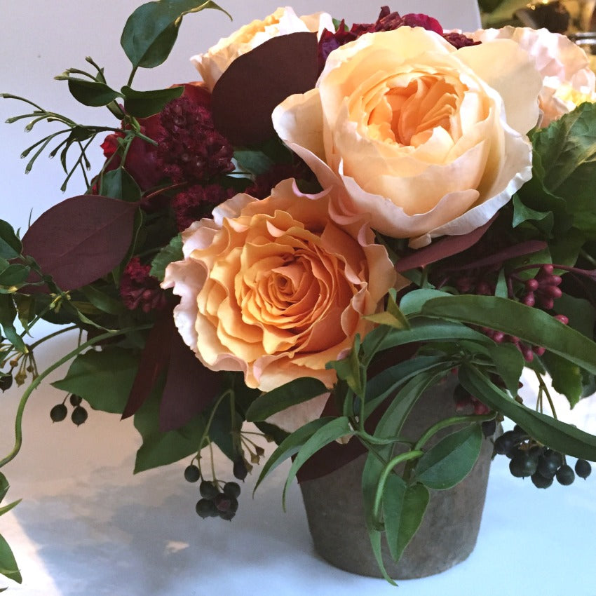 Rustic Burgundy and Peach Campanella rose arrangement by NYC Midtown Florist Anissa Rae Flowers