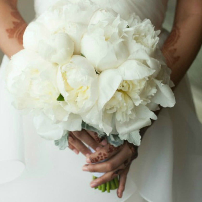 All White peony bridal bouquet for Indian Wedding by best wedding florist Anissa Rae Flowers NYC