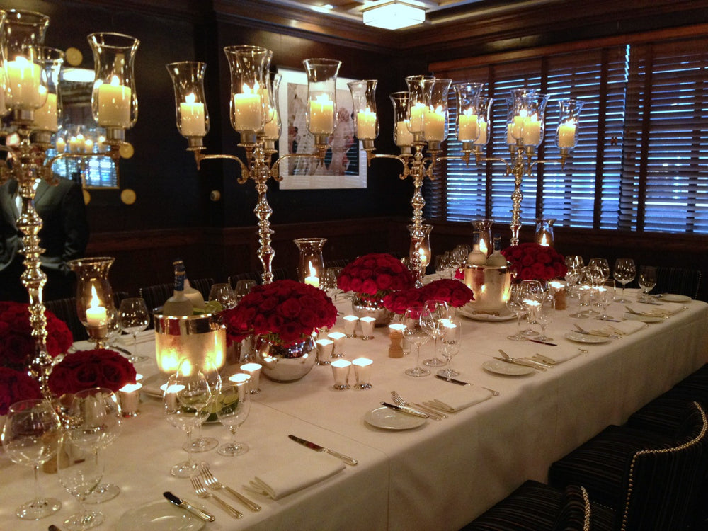 Tall Candelabras and Flower Table Runner Centerpieces by NYC Event Designer Anissa Rae Flowers