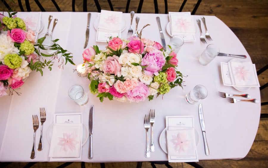 Pretty pink pastel baby christening garden style centerpieces The Arlington Club TAO Group Restaurant