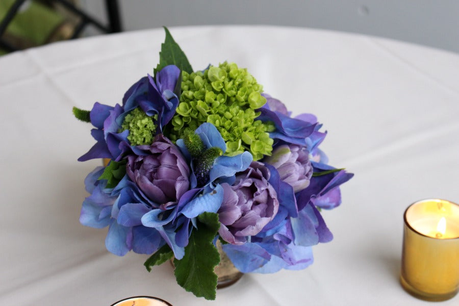 Purple and blue flower arrangements for NYC events Anissa Rae Flowers