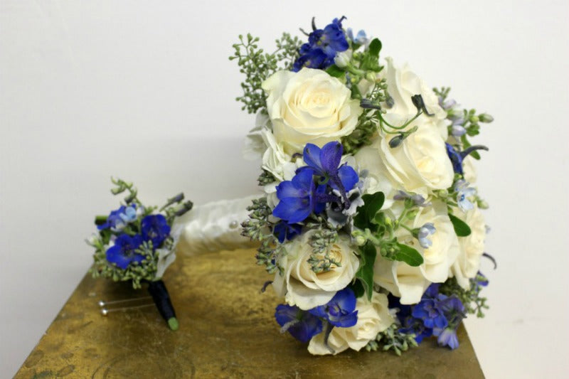 Beautiful Blue and White Bouquet for NYC Central Park Wedding Anissa Rae Flowers