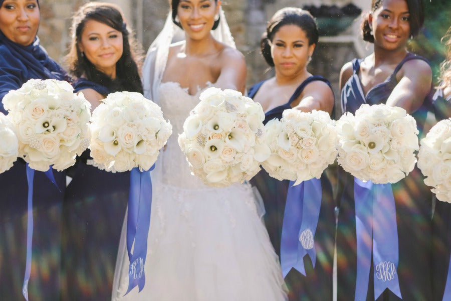 Monogrammed Ribbons Luxury Bridal Bouquets by Anissa Rae Flowers