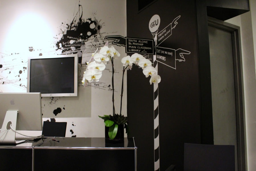 Custom White Orchid with Black Succulent Detail for event by Anissa Rae Flowers