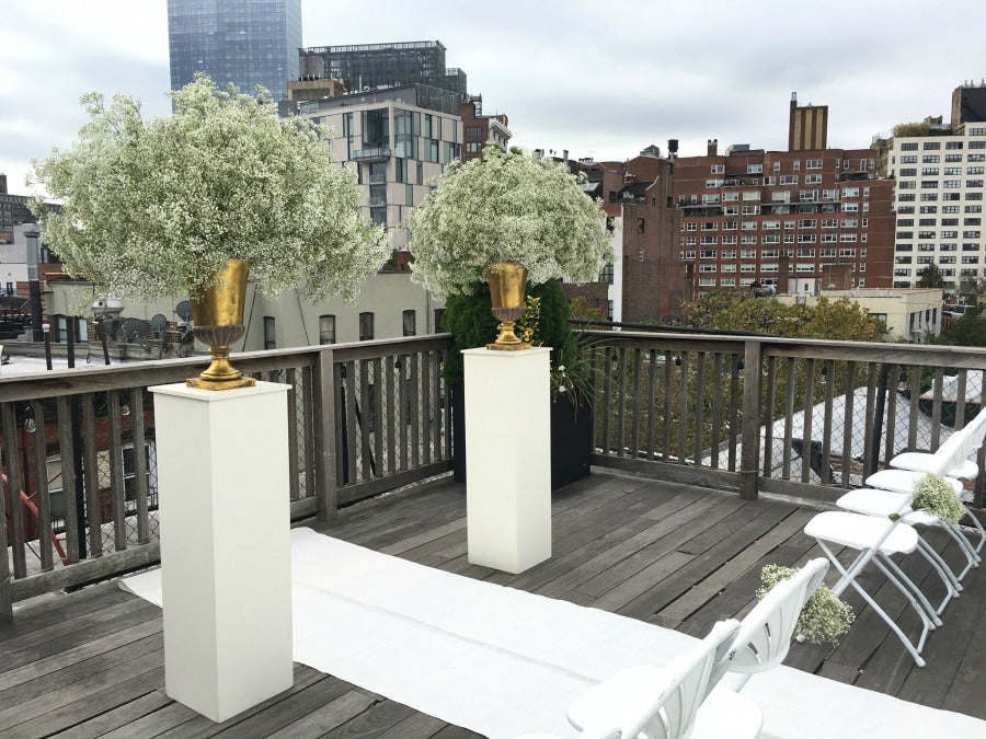 Early Fall Rooftop Wedding Ceremony Babys Breath Arrangements