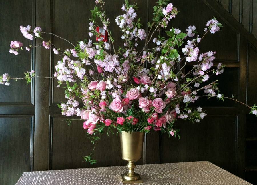 Shades of pink flowers and Cherry Blossom Branches tall Arrangement Spring Flowers