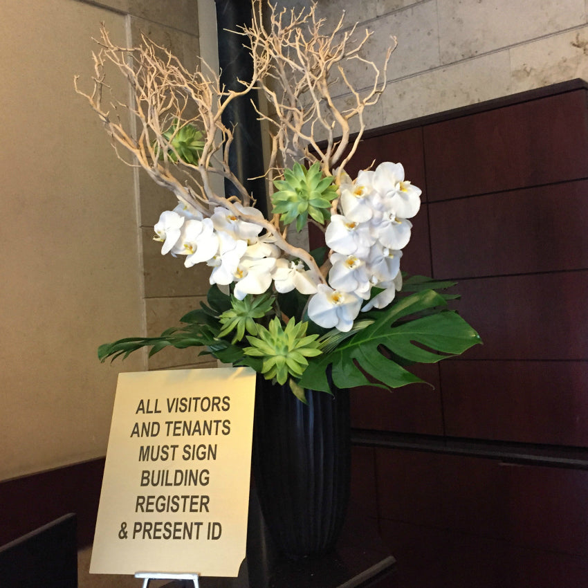 Reception Desk Lobby Weekly Flowers by NYC Florist Anissa Rae Flowers