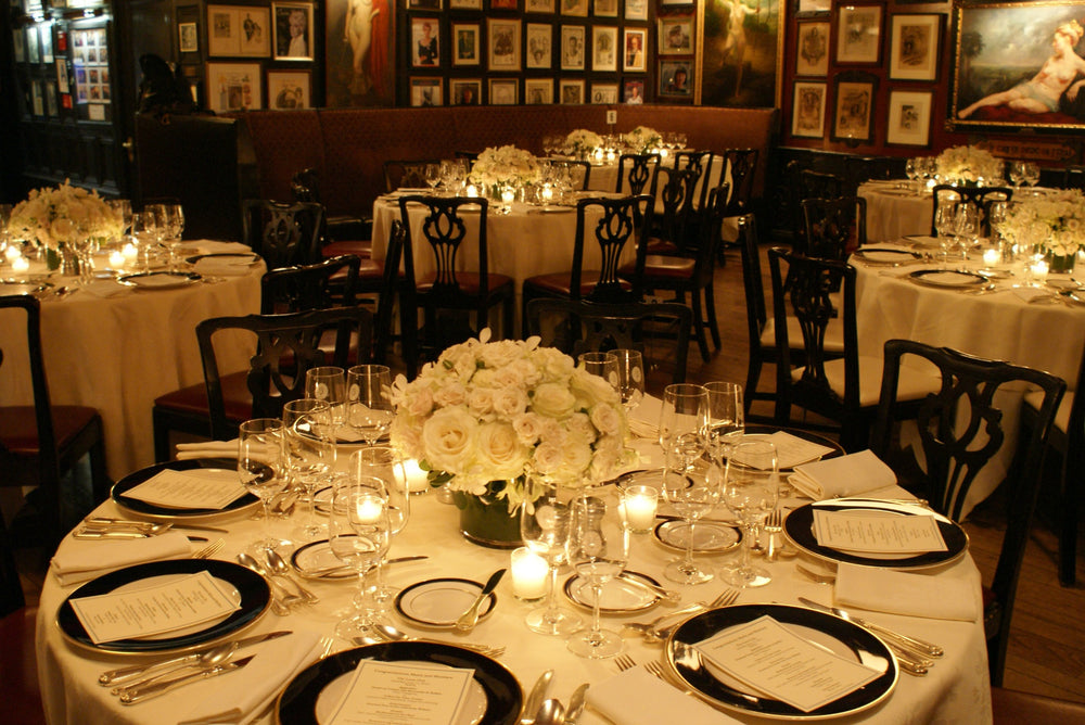 All White Flowers Centerpieces Grille Room NYC Anissa Rae Flowers