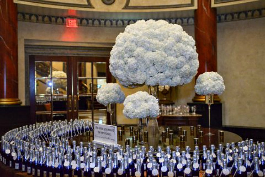 Escort Card Table with Plumes of Hydrangea