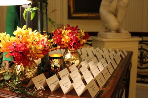 Orchid Escort Card Table Flowers by NYC Event Designer Anissa Rae Flowers