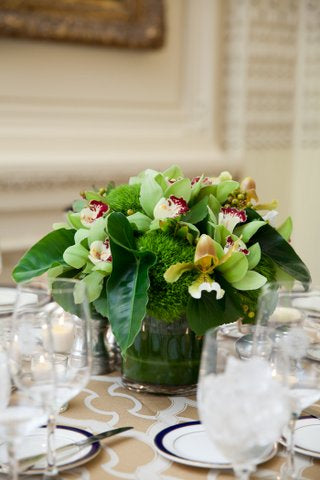 Green tropical flower Centerpieces for Golden Anniversary Party Anissa Rae Flowers