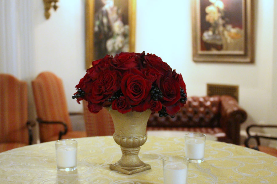 Red Roses in Urn Cocktail Table Flowers by Anissa Rae Flowers Florist