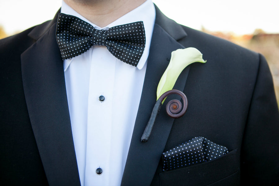 Calla Lily and Fiddlehead Fern Curl Wedding Boutonniere