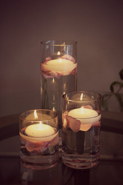 Floating Candles with Rose Petals by Anissa Rae Flowers NYC Florist