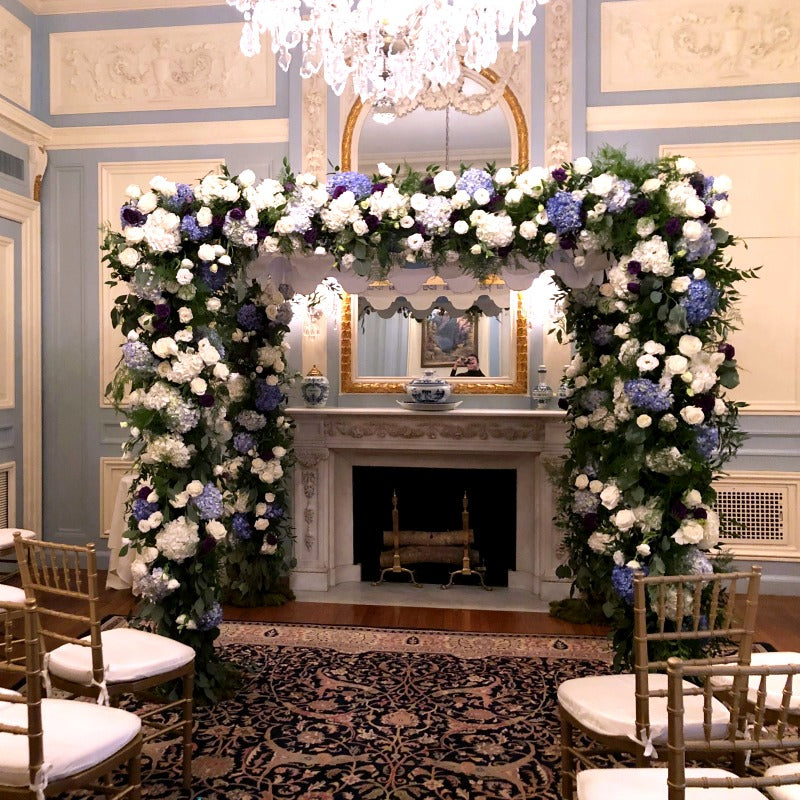 Chuppah Covered in Flowers for Jewish Wedding Ceremony by Anissa Rae Flowers NYC Wedding Florist