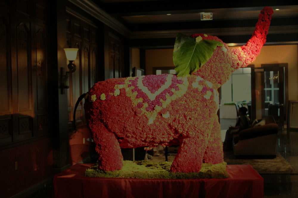 Elephant made out of Flowers by Upscale Wedding and Event Designer Anissa Rae flowers