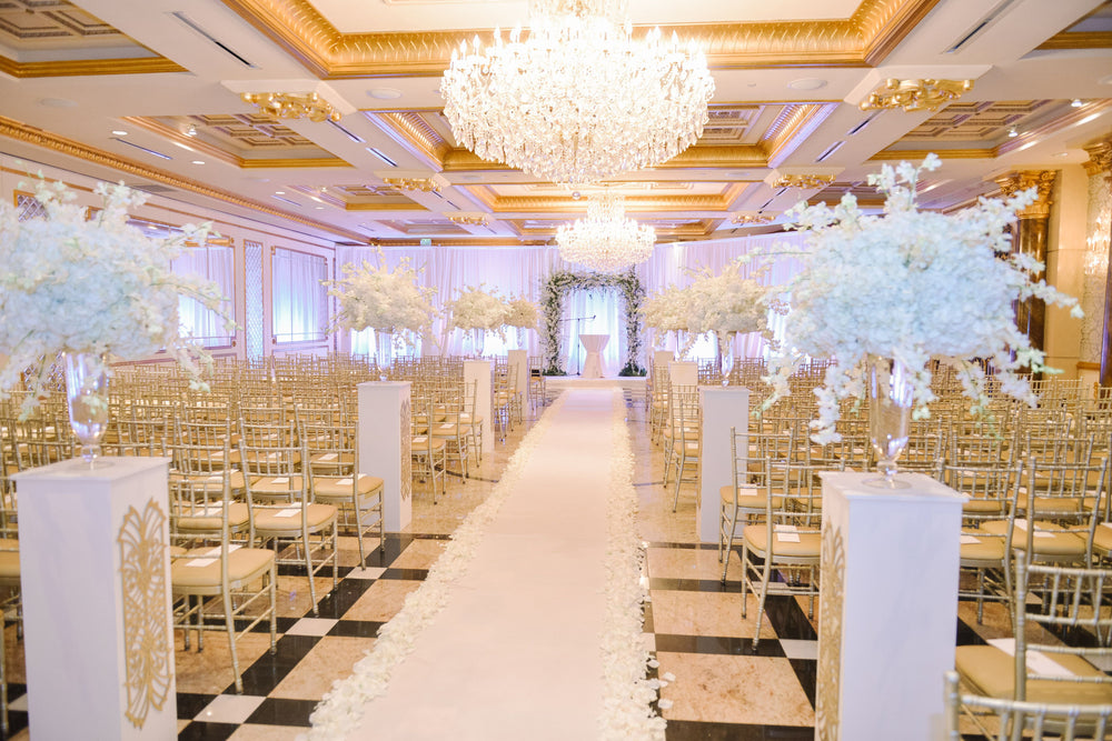 Wedding Ceremony Trends White Flowers and Custom Pedestals by Wedding Designer Anissa Rae Flowers