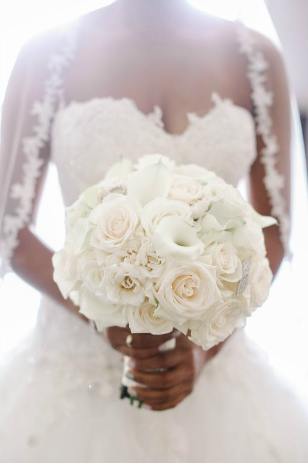 Luxury Wedding Bouquet with Jewelry Detail by NYC Wedding Florist Anissa Rae Flowers