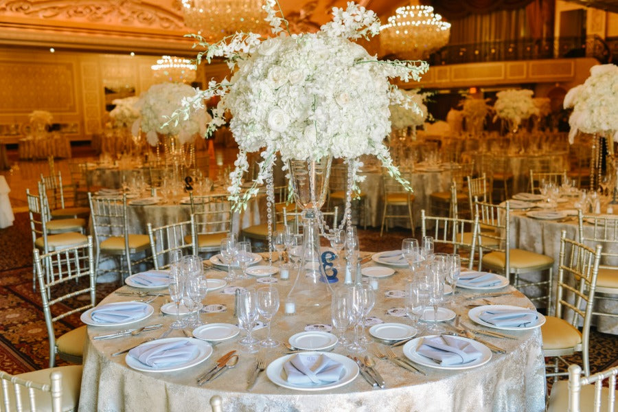 Tall Table Centerpieces Great Gatsby Wedding Anissa Rae Flowers NYC