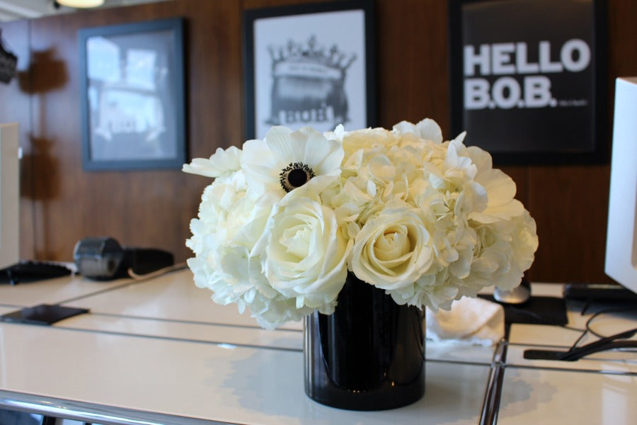 White and Black Flowers for Bumble and Bumble Hair Salon by Anissa Rae Flowers