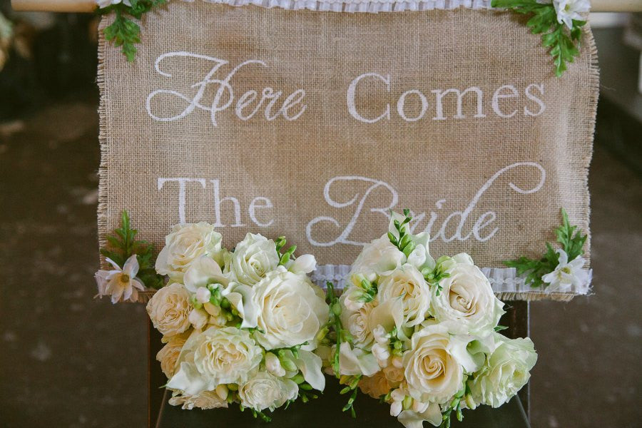Here Comes the Bride Wedding Ceremony Sign and Bridesmaid Bouquets