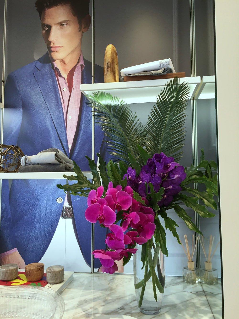 Vibrant Showroom Florist for Men's Fashion Jack Victor NYC by Anissa Rae Flowers