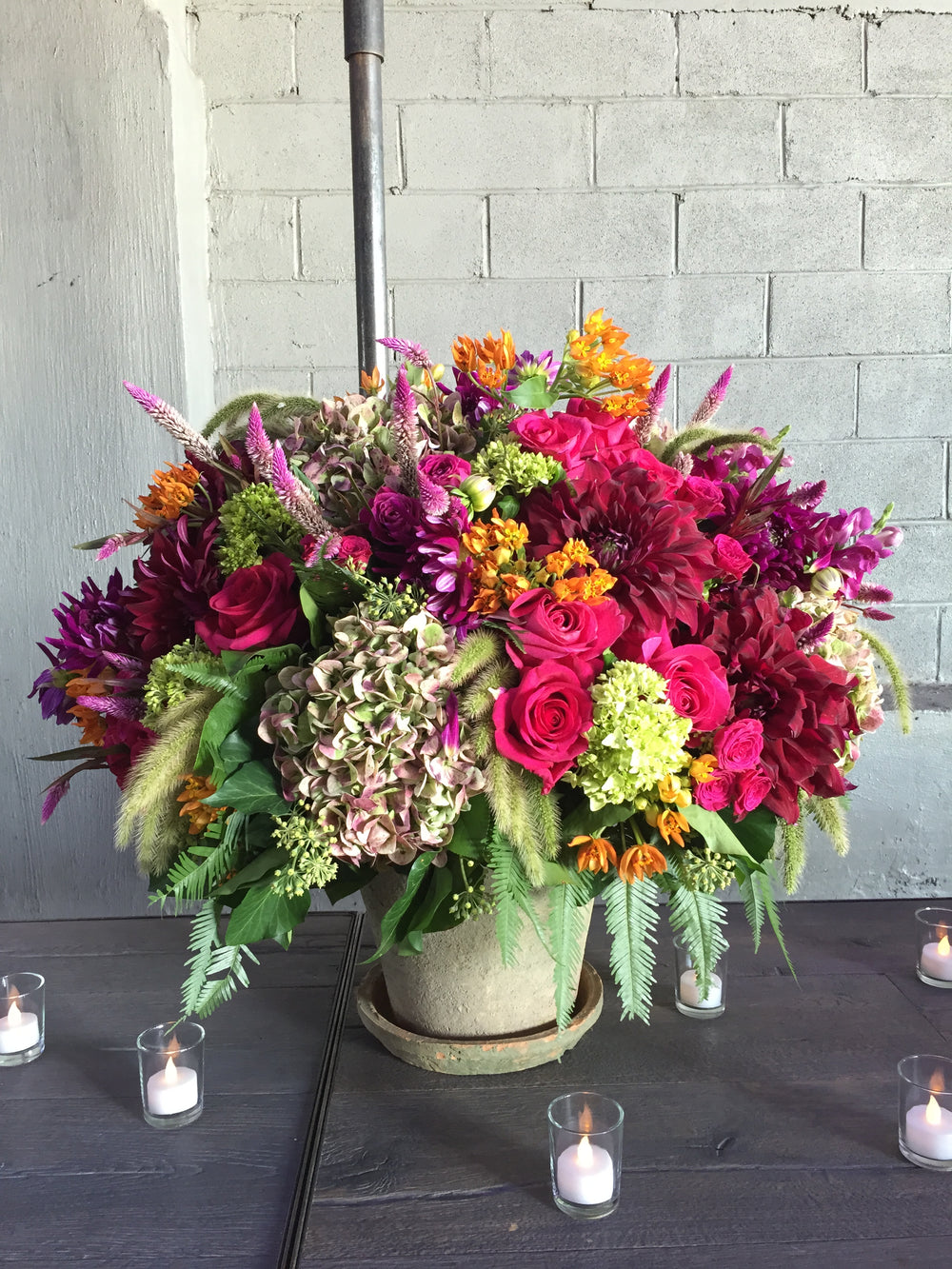 Rustic Event Centerpieces NYC Highline Event Space by Anissa Rae Flowers