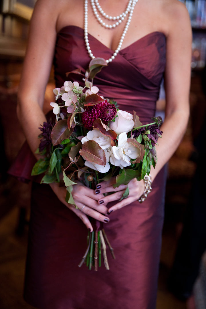 Fall Bridesmaid Wedding Bouquet burgundy hues by best wedding florist Anissa Rae Flowers NYC