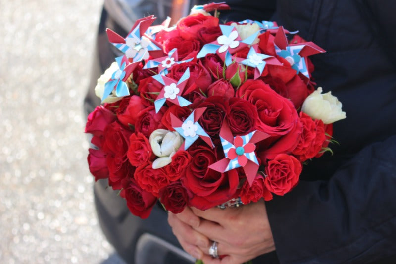 Custom Circus themed wedding bouquet by NYC Florist Anissa Rae Flowers