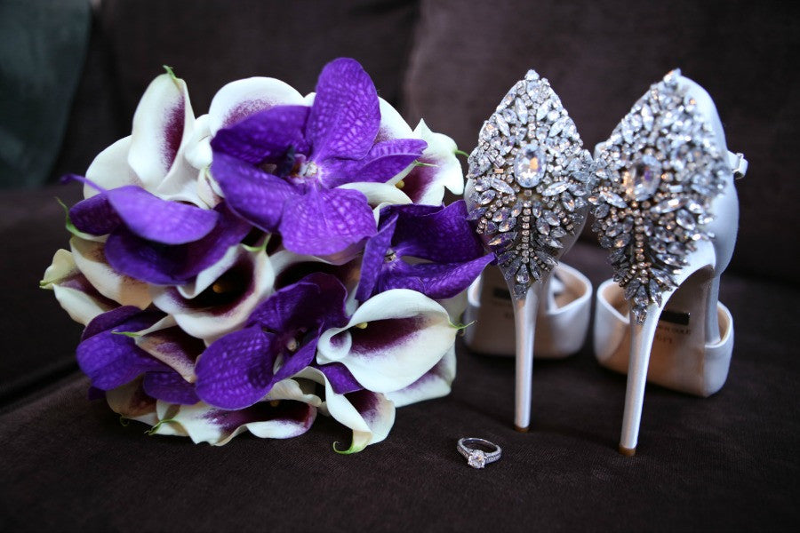 Glam Picasso Calla Lily and Purple Vanda Bridal Bouquet Anissa Rae Flowers NYC
