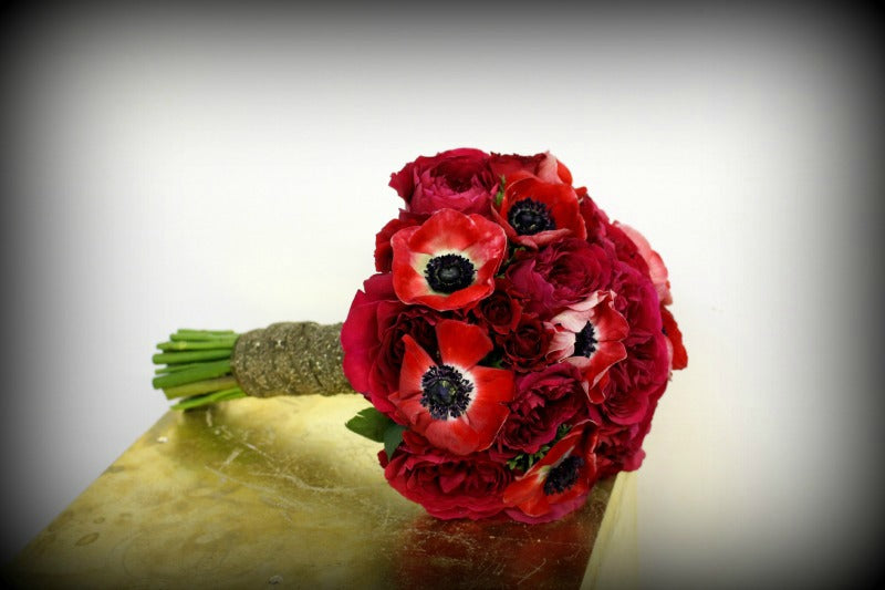Gorgeous Red Anemone Flower Bouquet for NYC City Hall Weddings Anissa Rae Flowers